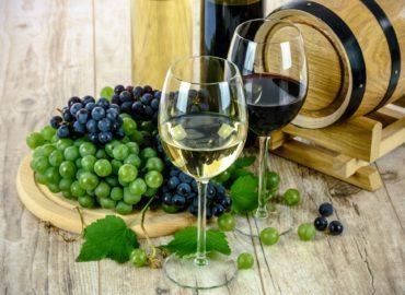 Ein Glas Weißwein und ein Glas Rotwein drapiert mit Weinreben vor einem kleinen Holzfässchen.
